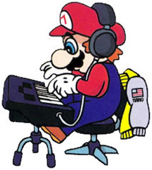 Mario at the keyboard