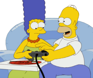 Homer and Marge Simpson play Xbox