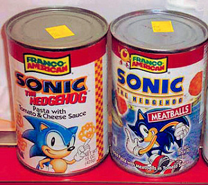 Sonic the Hedgehog pasta with tomato and cheese sauce