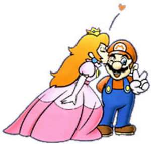 Princess Peach kisses Mario