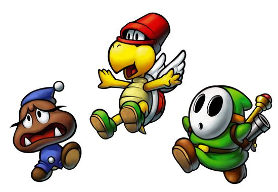 Goomba, Koopa Troopa, and Shy Guy