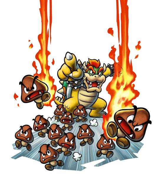 Bowser and his Goombas attack