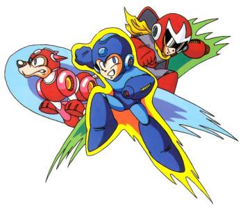 Mega Man, Proto Man, and Rush
