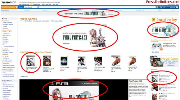 Amazon.com promotes the hell out of Final Fantasy XIII