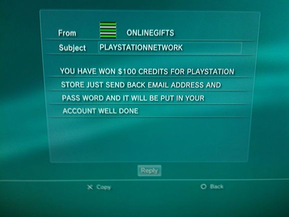 PSN phishing attempt
