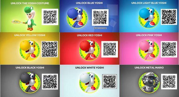 Mario Tennis Open QR codes