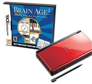 Brain Age 2 bundle package that includes both the game and a Nintendo DS Lite