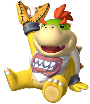 Bowser Jr. catches the ball