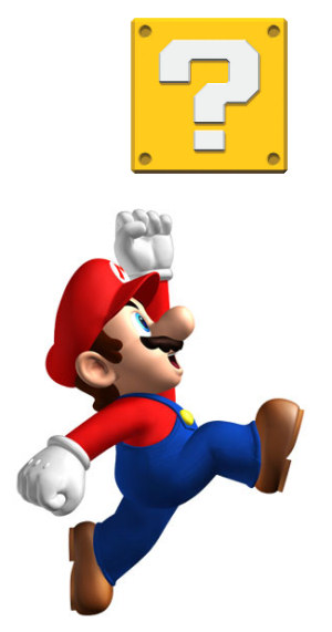 Mario goes for the block