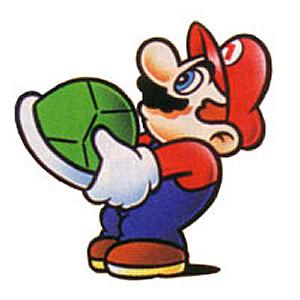 Mario holds a Koopa shell